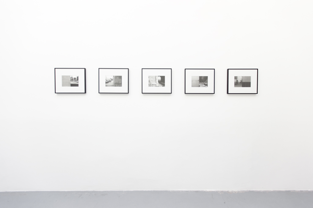 2015, 5 b/w photographs, 16 x 20 cm each <br> Ronquières, 2008 (0559-15) &#8211; Dunkerque, 2014 (0632-27) &#8211; New York City, 1978 (0043-19) &#8211; Wien, 2011 (0589-22) &#8211; Bruxelles, 2003 (0482-03)