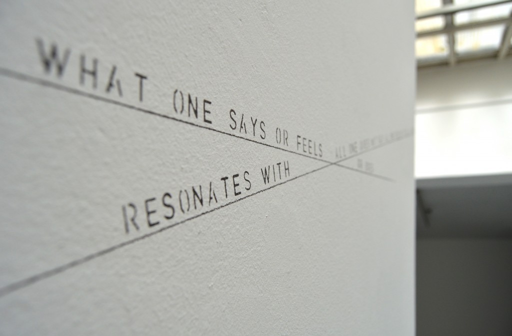 WHAT ONE SAYS OR FEELS RESONATES, 2014, wall drawing, dimensions variables,  2/5 edition