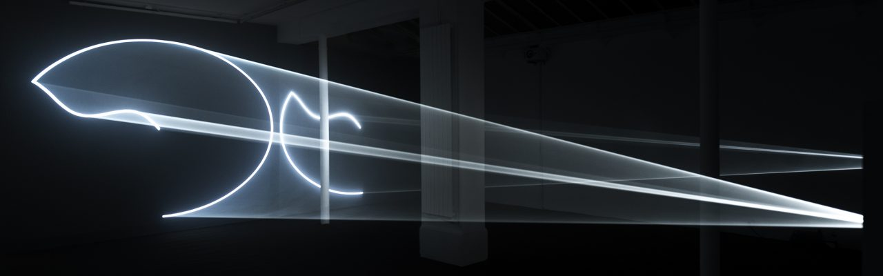 2009, double installation (horizontal) computer, QuickTime movie file, two video projectors, two audio speakers, two haze machines, one cycle : 32 min, edition of 3, photo François Doury