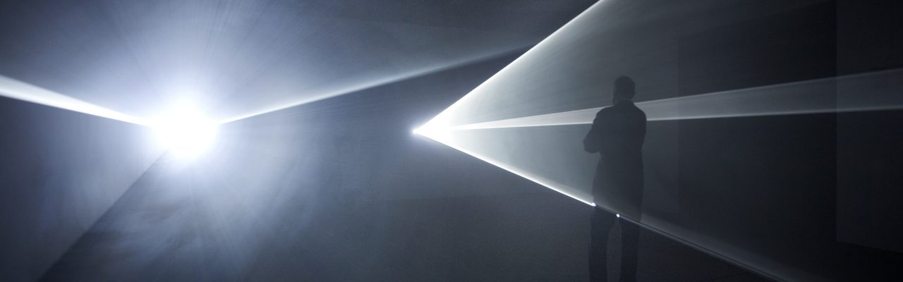 "Anthony McCall. ""Leaving (With Two-Minute Silence)"" (2009). Installation view at the Sean Kelly Gallery, New York, 2009. Photograph by Jason Wyche."