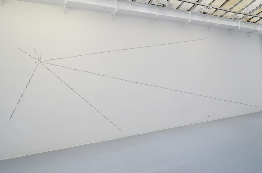 2016, text piece, black adhesive letters, dimensions variable, unique work (in 2 different versions)
