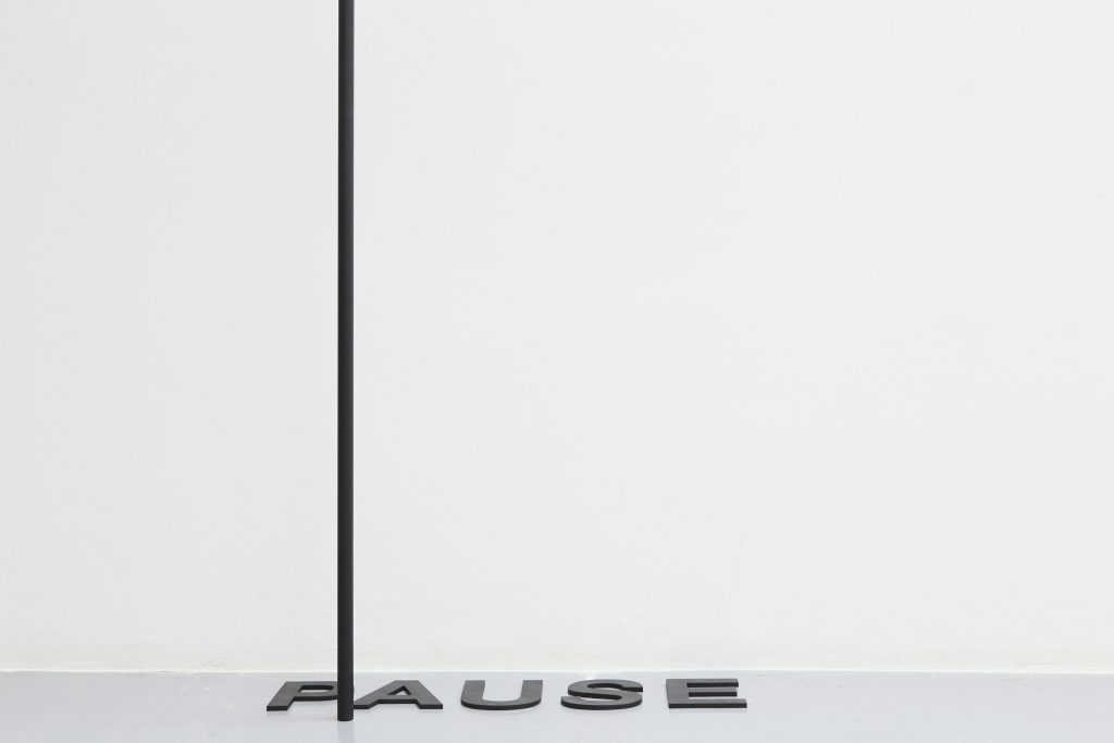 2017, room piece, aluminum tube, painted black, steel letters, painted black, letter dimensions: 12,5 cm, dimensions variable, unique work