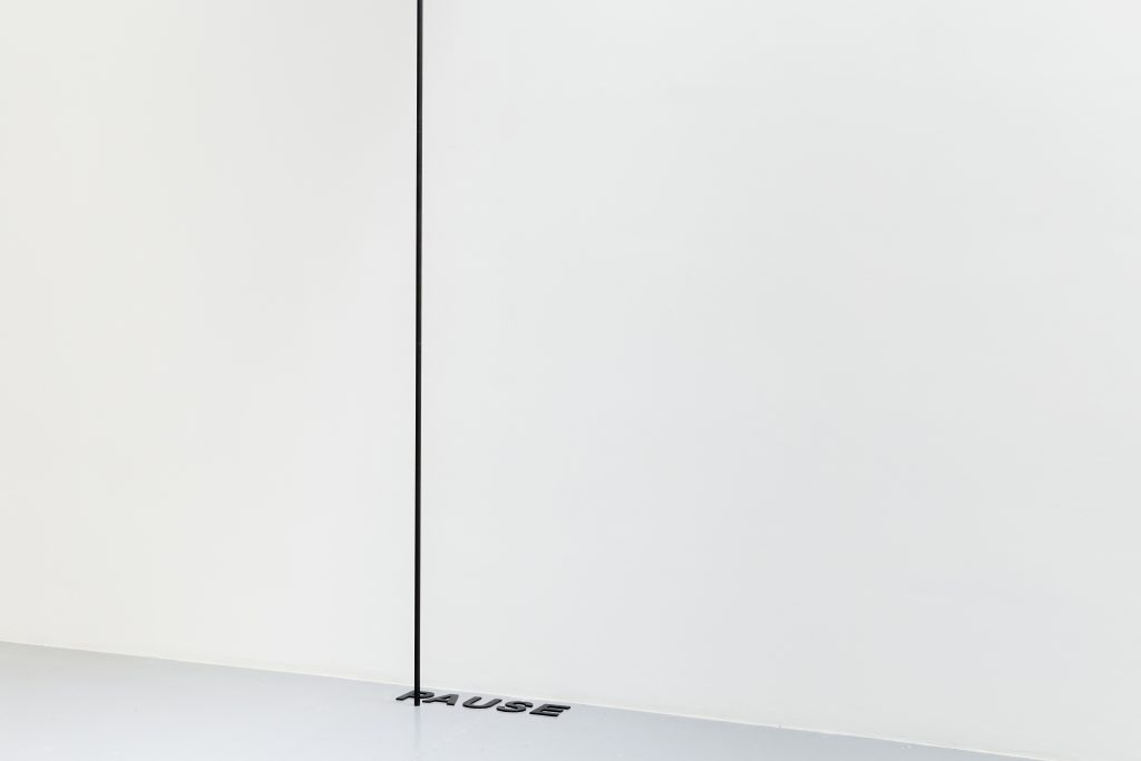 2017, room piece, aluminum tube, painted black, steel letters, painted black, letter dimensions: 12,5 cm high, dimensions variable, unique work