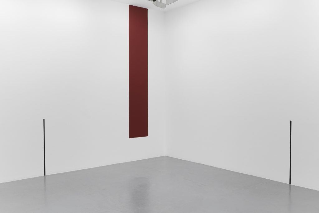 2017, wall piece, adhesive black tape and red paint, rectangle dimensions : 50cm wide/ height of the wall less 50 cm, dimensions variable, unique work