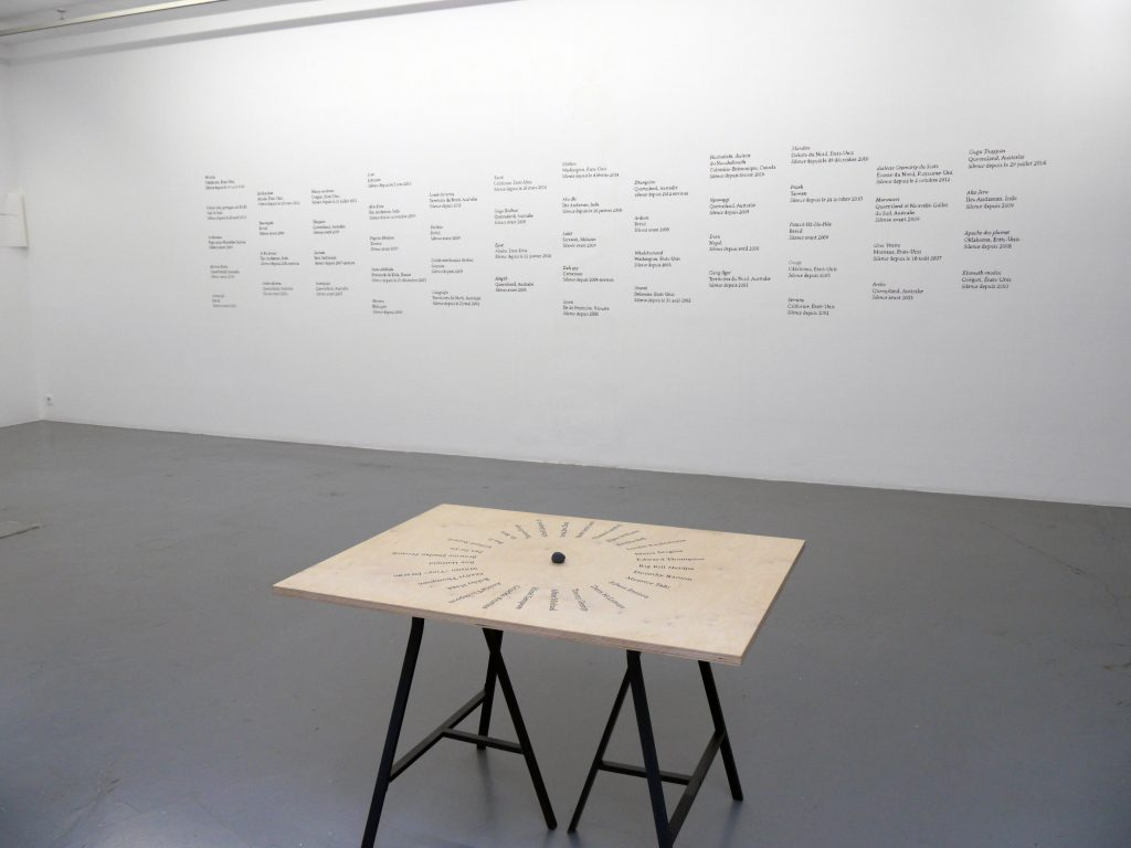 charcoal wall drawing + speaker orientation table set of 52 elements + inscriptions on wood + performance dimensions variable 5 unique works