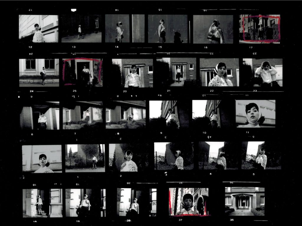 2014, installation including 3 digital photographs (20 x 27 cm) created from the 'Untitled Film Stills' series by Cindy Sherman, a super 8 video (2'01 min), and a digital contact sheet (21 x 27 cm), edition of 4 + 2AP
