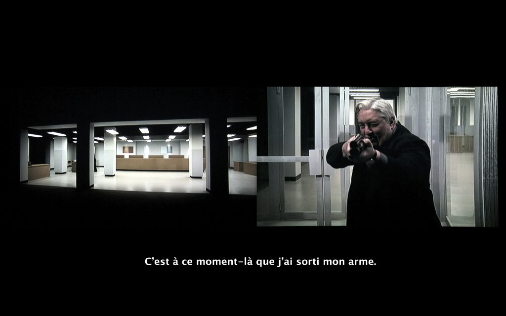 2014, video diptych of 'The Third Memory' by Pierre Huyghes, camcorded in the Centre Pompidou and subtitled in 5 different versions, 9'46 min, HD, 3840 x 1080, edition of 5 + 2AP