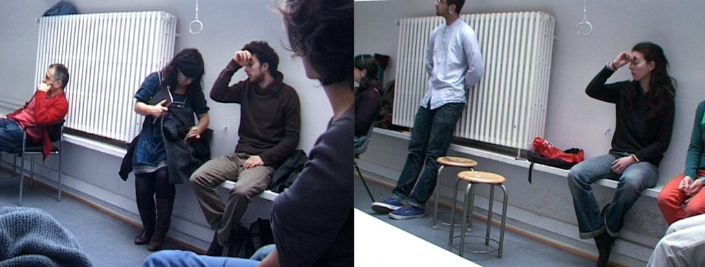 2011, video HD, mute, 8′ min.  This diptyque compares two videos in which a young man and myself, at the center of each image, take on the same gestures.