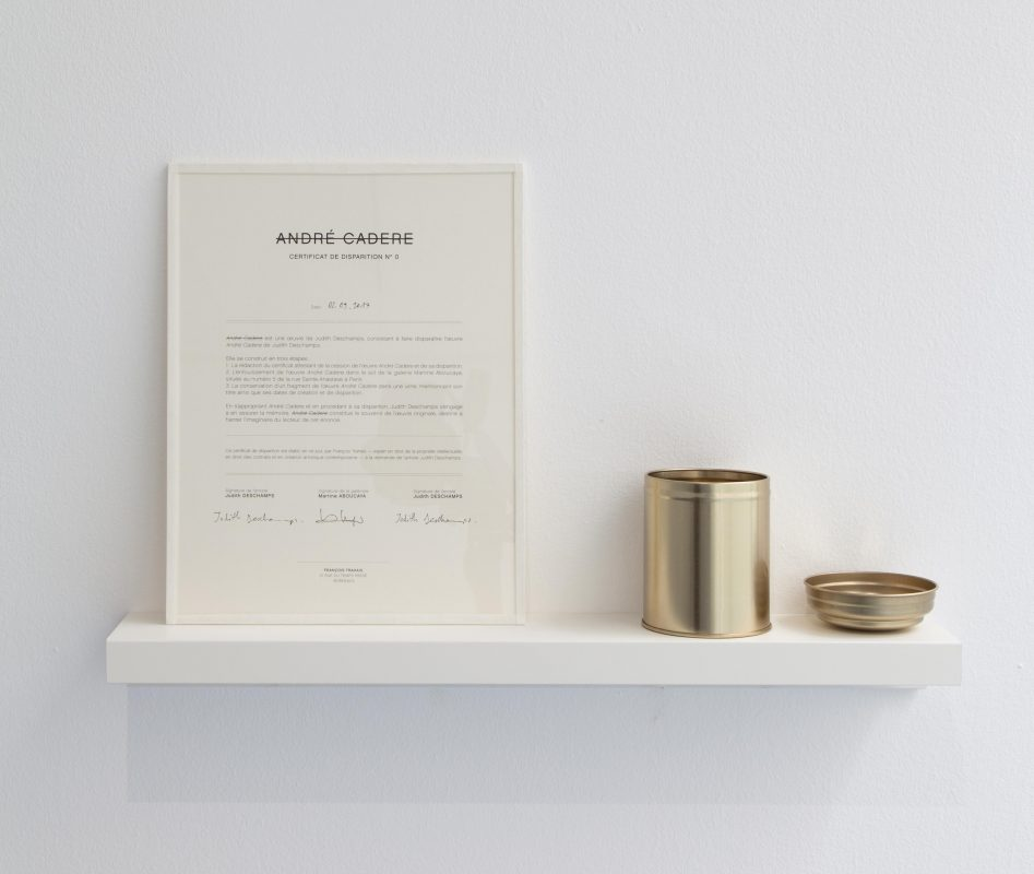 2017,disappearance certificate, inkjet on paper, metallic box and fragments of works, unique work