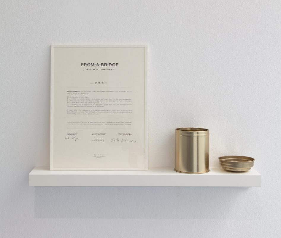 2017, disappearance certificate, inkjet on paper, metallic box and fragments of works, unique work