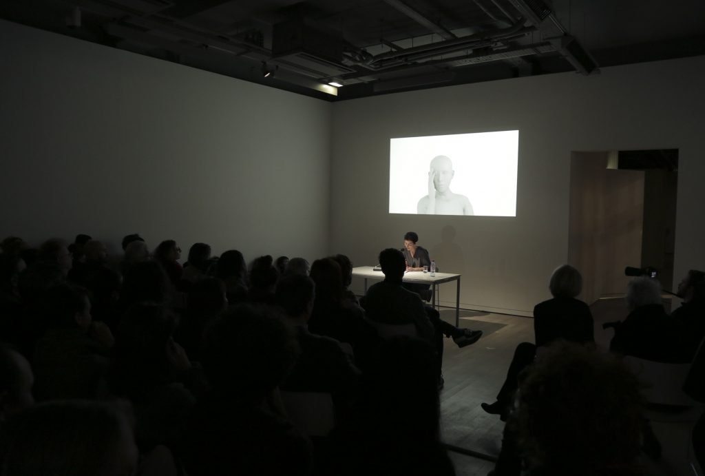 2016, performance, 30′ min,           3D avatar made from the body and the voice of Judith Deschamps, questions the conditions of its existence. Belonging to the digital and virtual world, having no sex or any particular gender, it speaks to us about its status and function of object.  This performance examines the codes and representations which condition our sexual identities, but also the devices that technology offer to or impose on our bodies, our thoughts, our identities.   Written with the help of Maxim Kares & Pierre Mercier.  Designed by Paul Guilbert. Staged with Sarah Kellal and Nathanaël Ruiz de Infante.