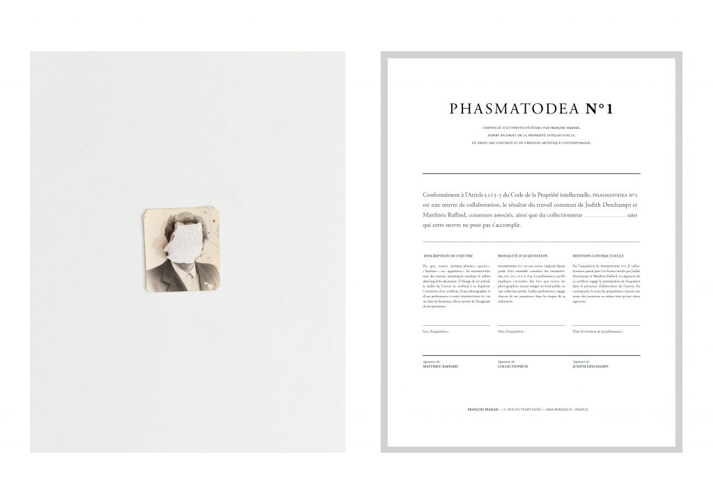 (PHASMATODEA N°1), 2015, in collaboration with the artist Matthieu Raffard, digital photographs and certificates, including an upcoming performance, 30 x 40 cm, unique work.   A series of 4 photographs representing a woman, hidden by a piece of plaster. They are presented with framed certificates, stating that once all of the photographs will have been purchased by public or private collections, a performance will take place.  By taking possession of Phasmatodea n°1, 2, 3 or 4, the collector tiggers the existence of the work. Like the stick insect, which is able to mimic its environment to perfection, the photograph escapes from the frames which are usually attributed to it.