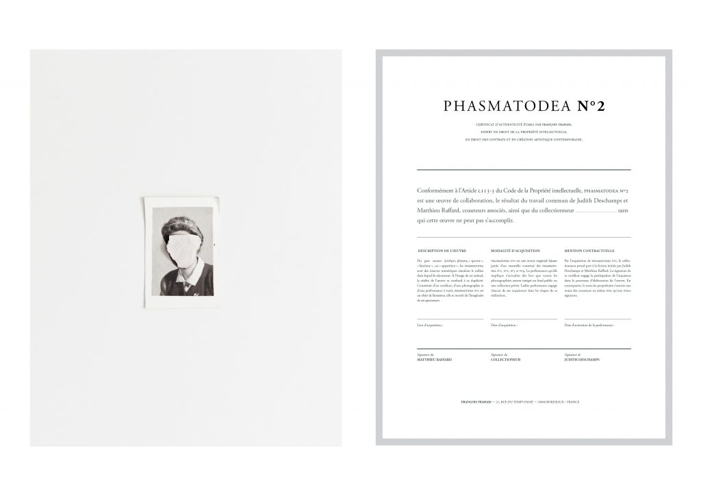 (PHASMATODEA N°2), 2015, in collaboration with the artist Matthieu Raffard, digital photographs and certificates, including an upcoming performance, 30 x 40 cm, unique work.
