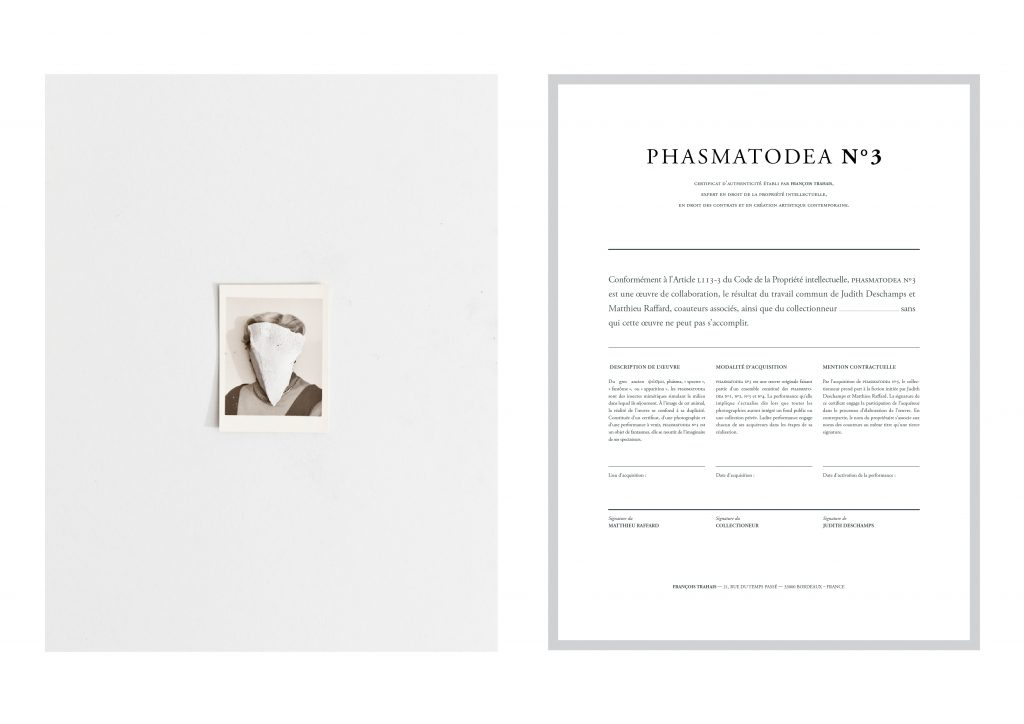 (PHASMATODEA N°3), 2015, in collaboration with the artist Matthieu Raffard, digital photographs and certificates, including an upcoming performance, 30 x 40 cm, unique work.