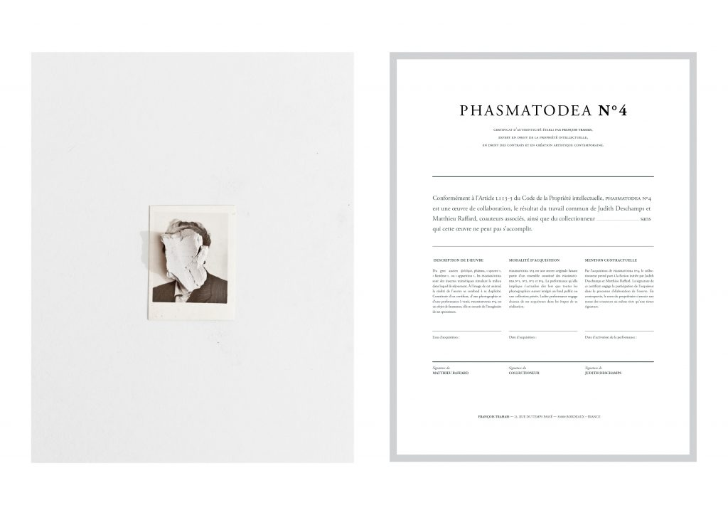 (PHASMATODEA N°4), 2015, in collaboration with the artist Matthieu Raffard, digital photographs and certificates, including an upcoming performance, 30 x 40 cm, unique work.