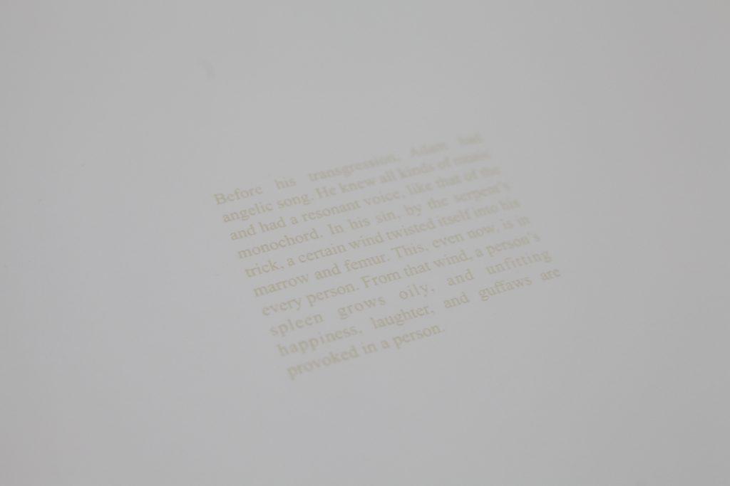 ADAM'S KNOWLEDGE #1, 2018, Texte gravé sur papier, 45 x 57 cm