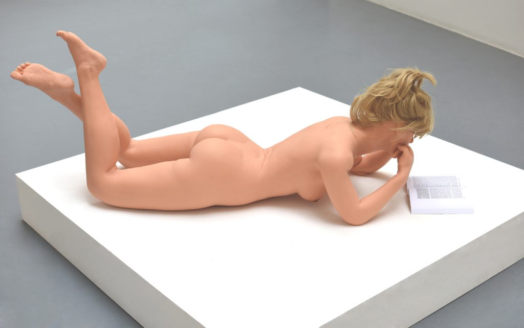 SEX DOLL LYING AND READING, silicone, 1,60 high