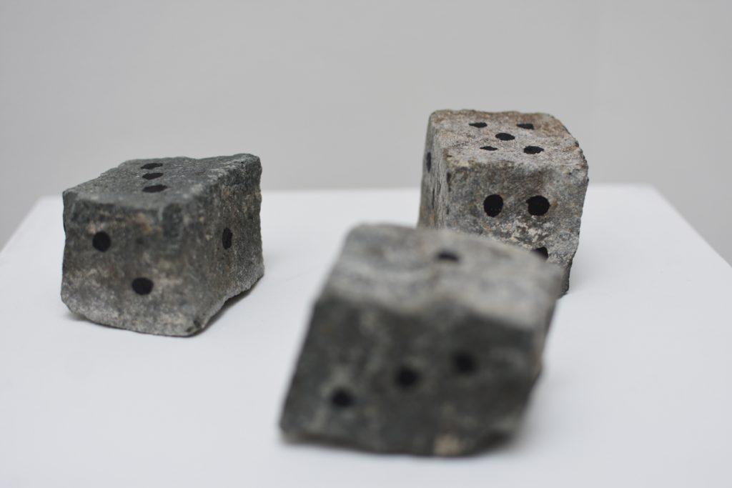ink on stones, 25 x 25 x 5 cm overall