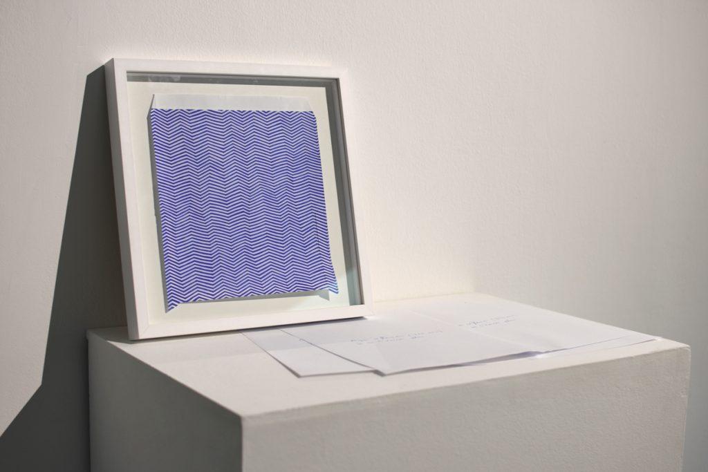 APRES REFLEXION (TEMPS DU DESSIN), JE NE T'ECRIRAI PLUS, 2019, blue pen on paper, 20 x 20 cm, unique artwork