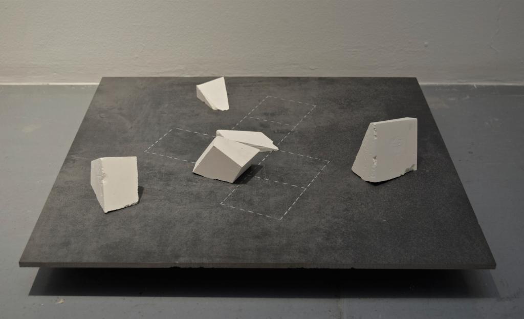 GRANULATION, 2018, plaster and chalk, 60 x 60 cm, unique work