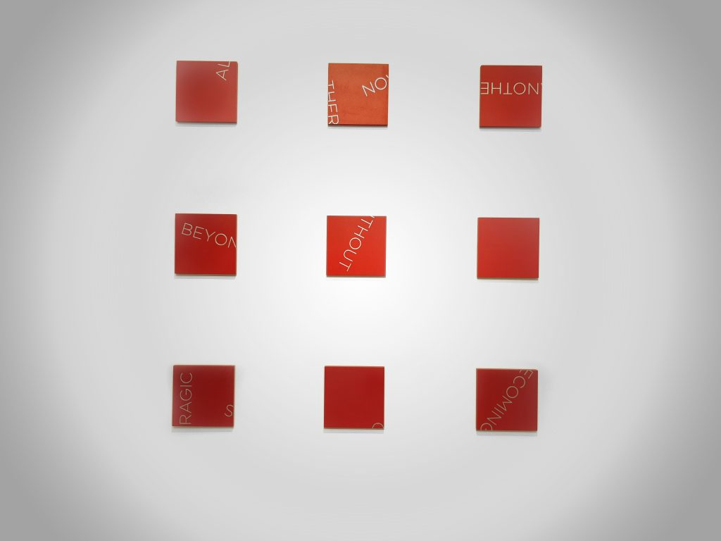 Polyptych red, painting on wood, 9 items each 20,5 x 20,5 cm, 121,5 x 121,5 cm overall, unique work dated and signed, Photo Eva Rey