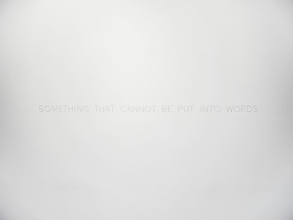 Text piece, pencil on wall, dimensions variable, unique work with a certificate, Photo Vincent Royer, OpenUp Studio